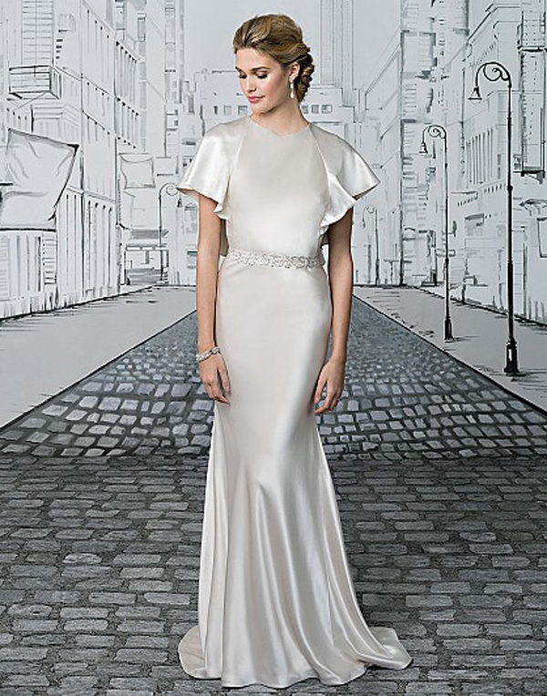 b. Luxe Charmeuse High-Neck Gown with Flutter Sleeves and Low Back, from Justin Alexander